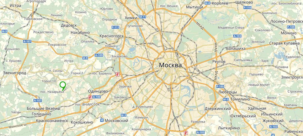 Поселок Николино на карте Подмосковья